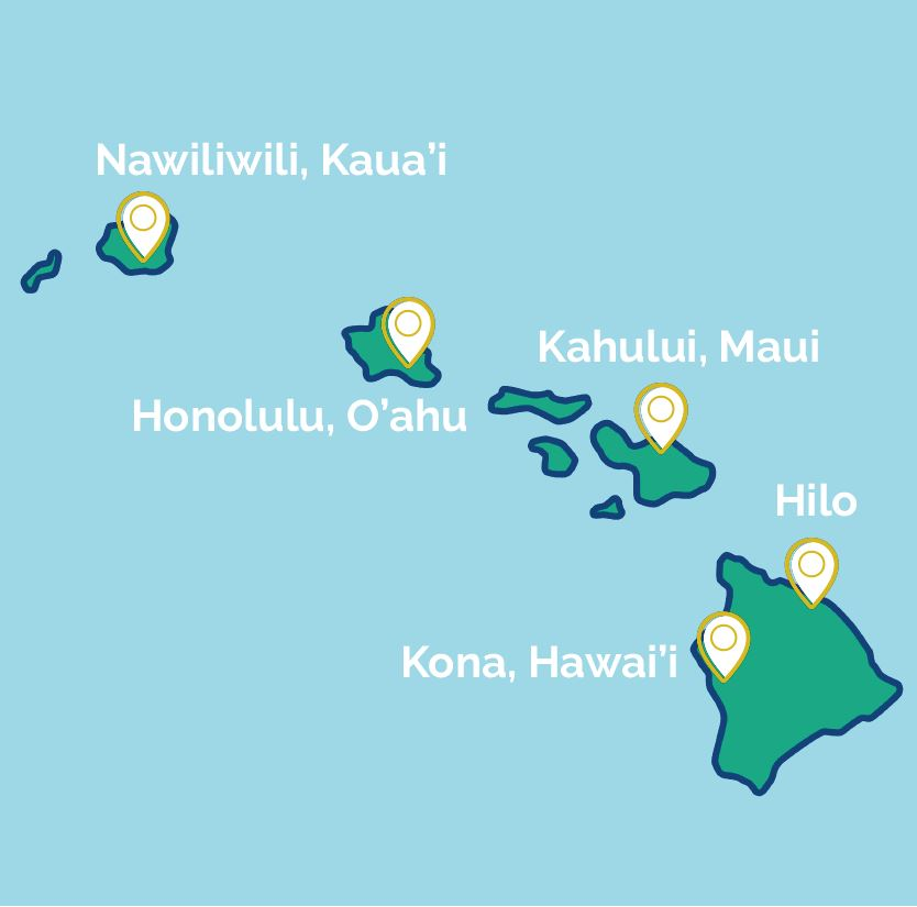 Graphic map of Hawaiian Islands outlining this tour's journey